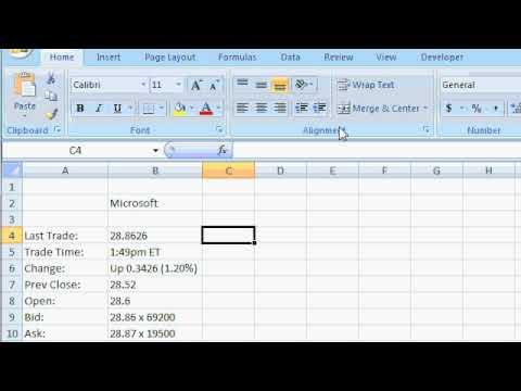 Microsoft Excel 2007 Tutorial - Get External Data - Stock Pricing