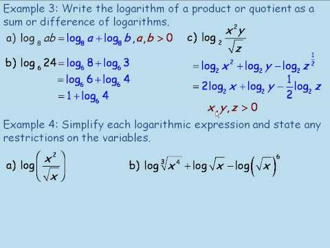 Product and Quotient Laws of Logarithms Part 2