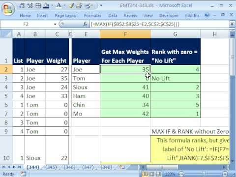 Excel Magic Trick 344: MAX IF & RANK functions without Zeros