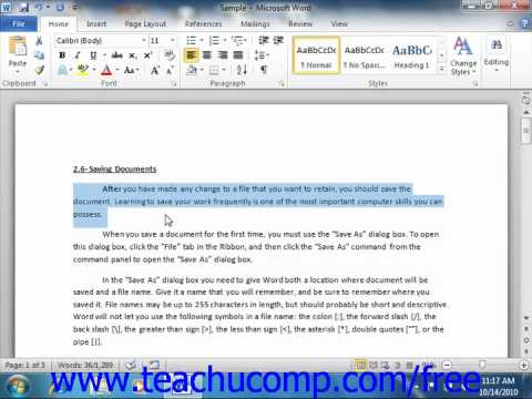 Word 2010 Tutorial Cutting, Copying, and Pasting Microsoft Training Lesson 3.2