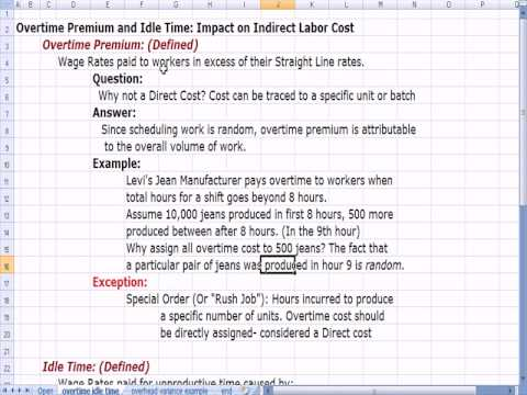 Cost Accounting 20 Overtime, Idle Time Indirect Cost Treatment