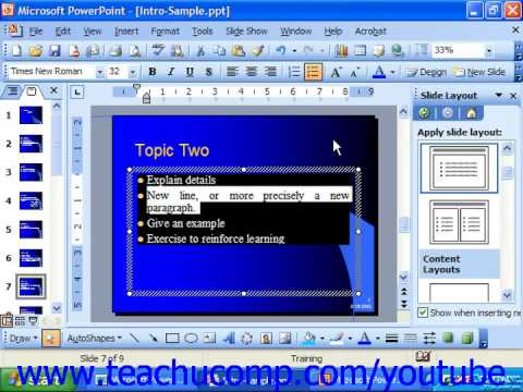 PowerPoint 2003 Tutorial Aligning Text within a Text Box or Placeholer Microsoft Training Lesson 7.6
