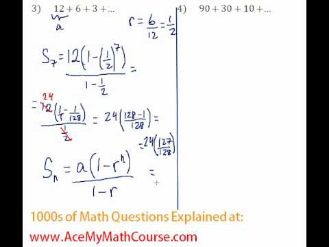 Geometric Series - Find the Sum #3-4