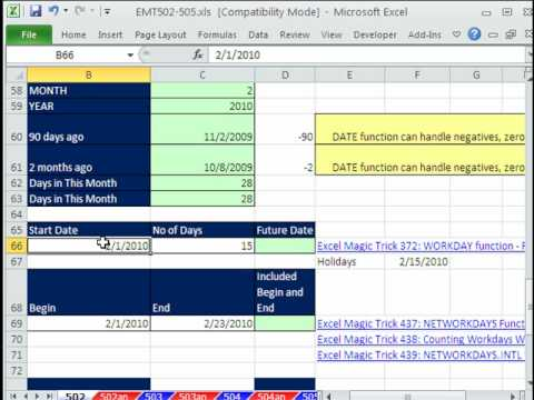 Excel Magic Trick #502: Excel Date Formatting & Calculations (21 Examples)