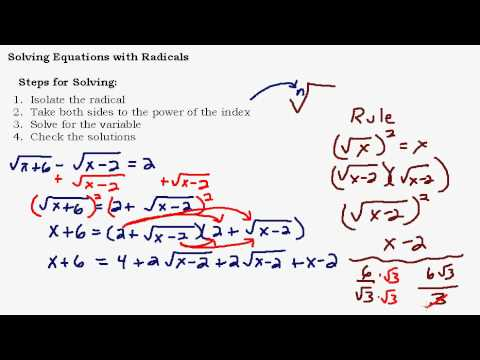 Solving Equations With Radicals Part 2 of 3
