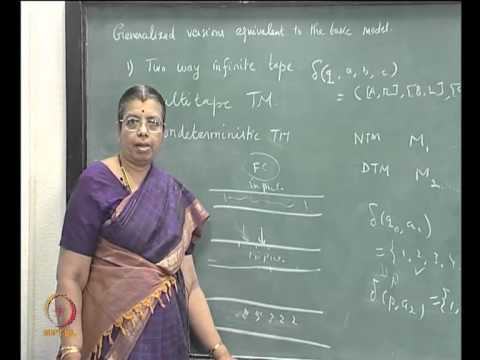 Mod-05 Lec-29 GENERALIZED VERSIONS OF TURING MACHINES