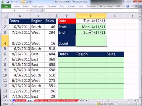 Excel Magic Trick 849: Extract Records For Week With Formula that works in Excel 2003, 2007, 2010