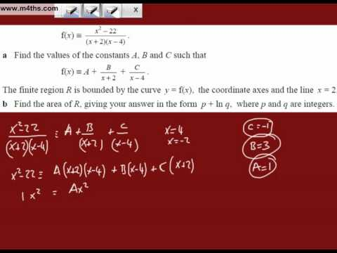 (xi) Partial Fractions to Integrate (another harder level exam question)