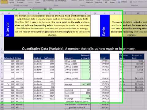 Excel 2010 Statistics 13: Scales Of Measurement: Nominal, Ordinal, Interval, Ratio