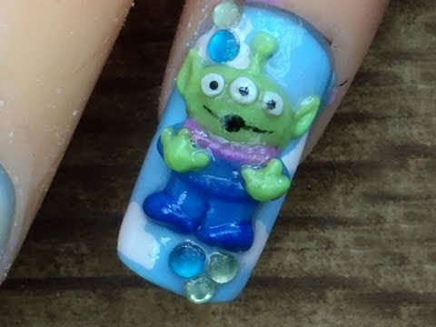 Toy Story *Cute Green Alien* 3D Acrylic Nail Art Design