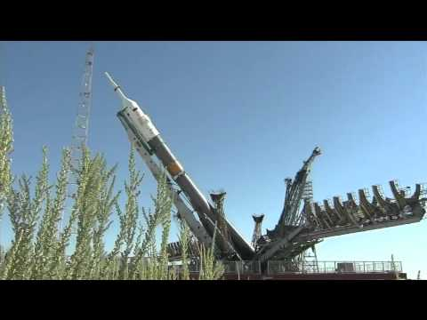 The Expedition 32/33 Soyuz Rocket Moves to Its Launch Pad