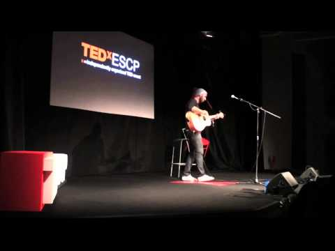 "Lucie and ""Holy Shit"" on the guitar by RIMED in Paris @TEDxESCP"
