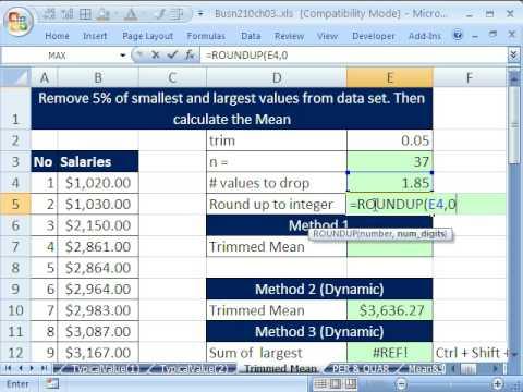 Excel Statistics 36: Trimmed Mean