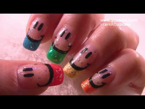 Smiley Face Nail Art Tutorial / Arte para las uñas de sonrisas