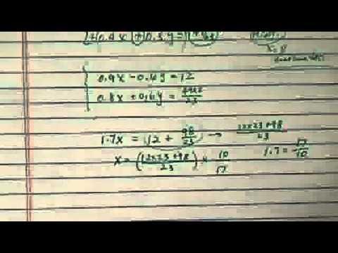 System of Equations (2VAR): 0.3x - 0.2y = 4, 0.4x + 0.3y = 49/23