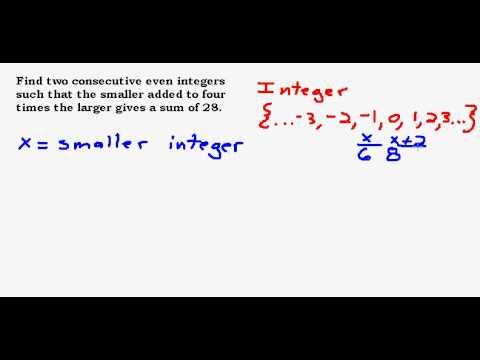 Consecutive Even Integer Story Problem