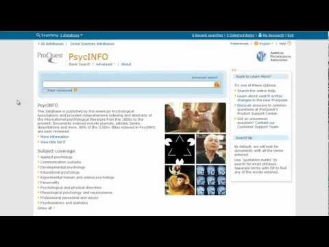 How (and Why) to Use the APA Thesaurus When Searching PsycINFO via ProQuest