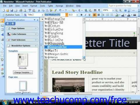 Publisher 2003 Tutorial Changing the Font Microsoft Training Lesson 4.1