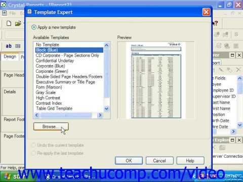 Crystal Reports Tutorial The Template Expert Business Objects Training Lesson 5.7