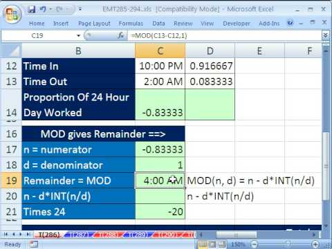 Excel Magic Trick 286: MOD function & Time Calculations (Time For Night Shift, or Negative Time)