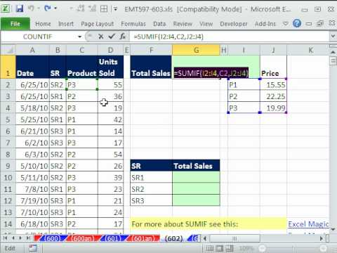 Excel Magic Trick 602: SUMIF Does Lookup? Total Sales Array Formula w 1 Criteria SUMIF Function