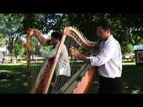 Marcelo Rojas and Miguel Prado perform a harp duet