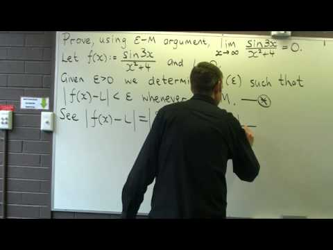 Limit of a function as $x \to \infty$: Using the $\epsilon-M$ approach