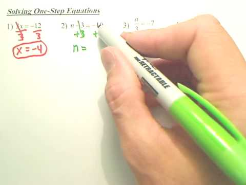 Solving 1 Step Equations - Algebra 1