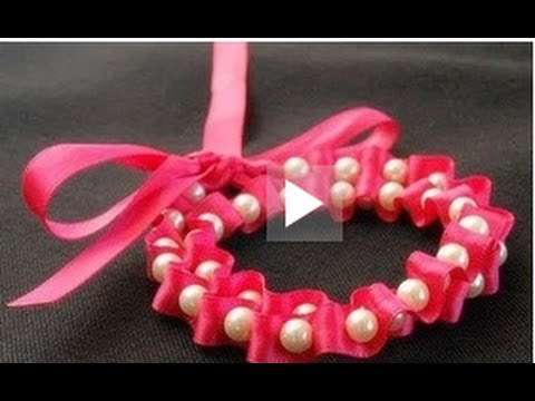 ♥ Ribbon and Pearls BOW Bracelet Tutorial ♥ ( • ◡ • )
