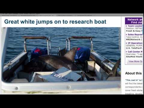 Great White Shark Jumps in Boat!