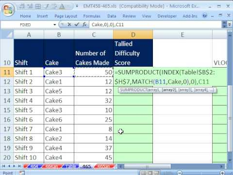 Excel Magic Trick 465: Lookup Entire Row (ALL COLUMNS) with INDEX for Cake Manufacturing Calculation