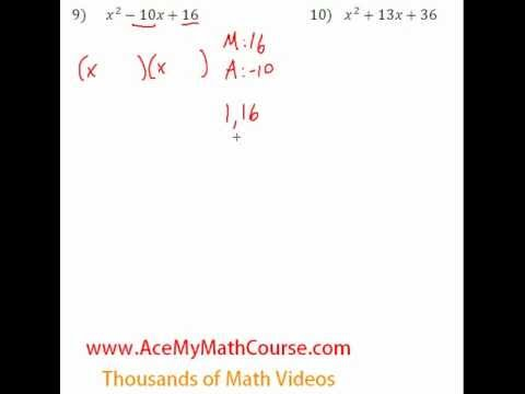 Polynomials - Factoring Trinomials Question #9