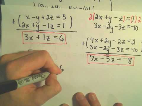 Solving a System of Equations Involving 3 Variables Using Elimination by Addition - Example 3