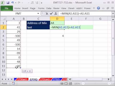 Excel Magic Trick 731: Retrieve Cell Address Of Minimum Value In Column