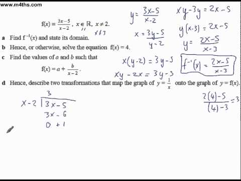 Core 3 functions exam question (inverse and sketching)
