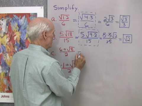 Algebra Help: Simplifying Radicals 2