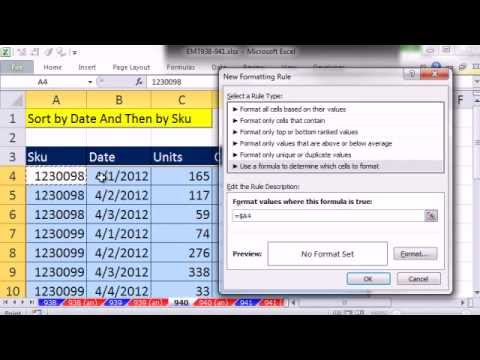 """Excel Magic Trick 940: Conditionally Format Row """"At Each Change In"""" Grouped Items"""