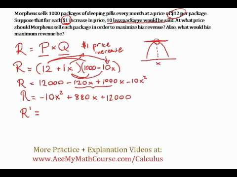 Revenue Maximizing #1 - Optimization Word Problem (Calculus)
