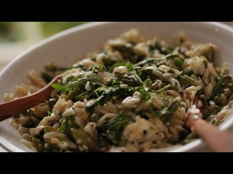 Orzo: Green Veggies, Toasted Almonds, Feta  || KIN EATS