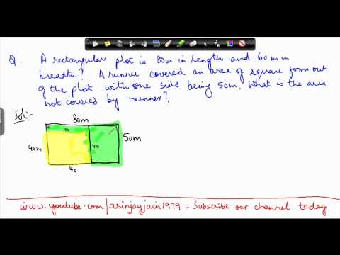 63. Class VII - Online Maths for CBSE, ICSE, NCERT India  - Area of rectangle and sqaure problem