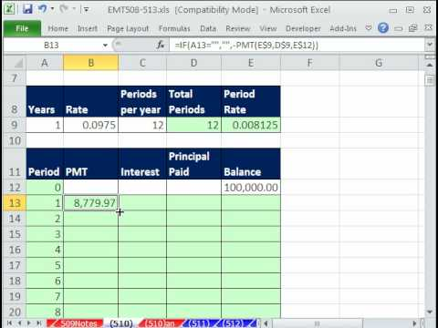 Excel Magic Trick 510: Amortization Table That Changes When Year Input Is Changed