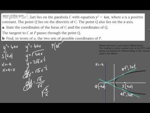 (30) FP1 - The Parabola (more exam practice questions)