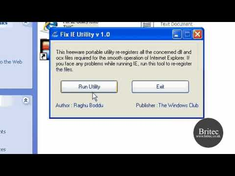 Repair Internet Explorer  IE 7, IE 8 with Fix IE Utility by Britec