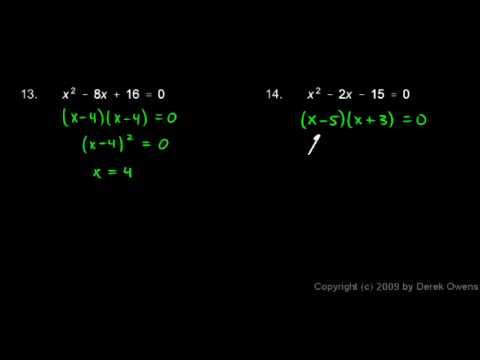 Algebra Review 10.8 - Quadratic Equations
