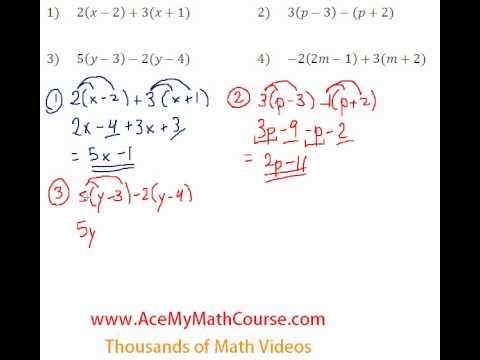 Basic Algebra Review - Distributive Property Simplifying #1-4
