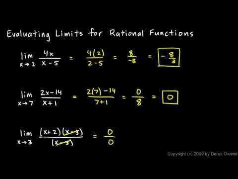 Calculus 2.5d - Limits for Rational Functions