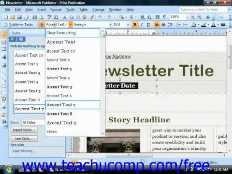 Publisher 2003 Tutorial Changing the Font Style & Effect Microsoft Training Lesson 4.3