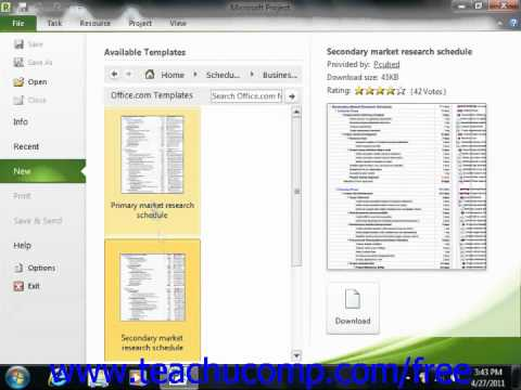 Project 2010 Tutorial Creating New Projects Microsoft Training Lesson 2.3