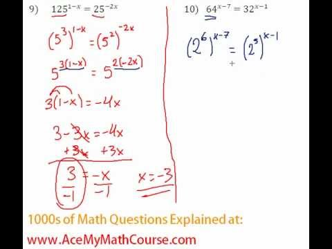 Exponents - Solving Exponential Equations #10