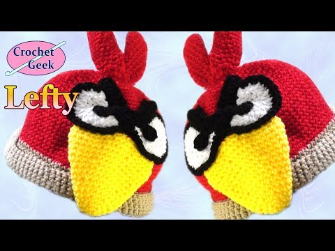 How to Make a Grumpy Bird Crochet Hat - Left Hand Version